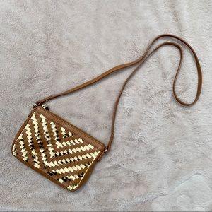 Milky Dylan Woven Zip Crossbody Bag, Caramel